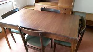 Teak dining table and chairs - extendable
