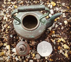 Vintage miniature salesman's copper kettle