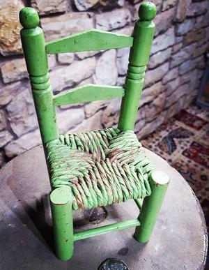 Vintage miniature salesman's wooden chair