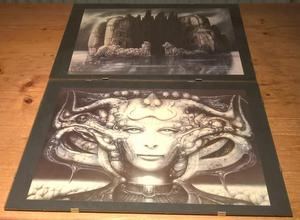 HR Giger Prints, set of 6, framed