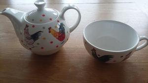 Alex Clark 'Roosters' Teapot/cup
