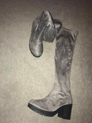 Size 6 grey suede knee high boots