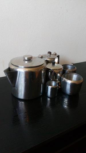 vintage stainless steel tea pot set