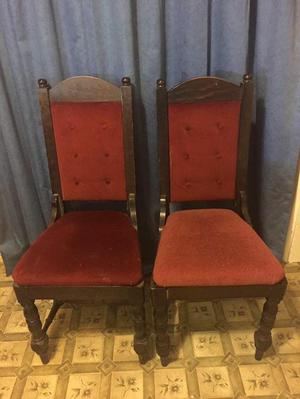 2 x antique style high back chairs