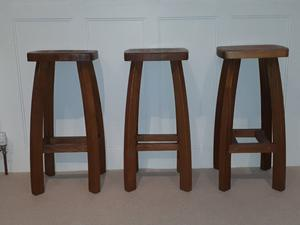 A Set Of 5 Solid Oak Breakfast Bar Chairs Posot Class