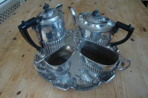 Vintage 4 Piece Silver Plated Tea Set, Ribbed, plus Siver