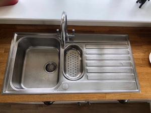 Stainless steel Franke kitchen sink (with main sink and draining half sink) and mixer taps