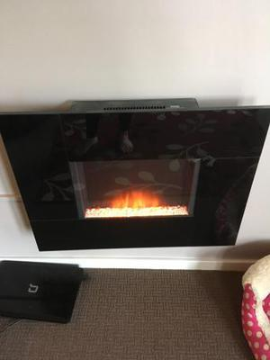 Black electric wall mount fire