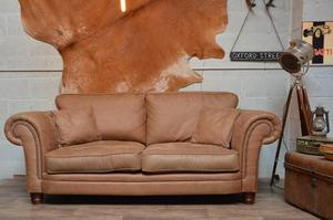 Chesterfield Vintage Suede 3-4 Seater Sofa Brown Studs