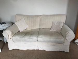 Large 2 - 3 seater cream sofa