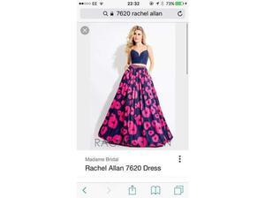 NEW Rachel Allen Navy Blue and Pink Two Piece Evening Gown