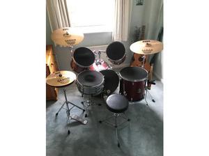Percussion drum kit with Sabian B8 symbols. in Warrington