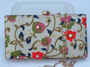 Vintage Look Embroidered Hard Shell Bag/Clutch
