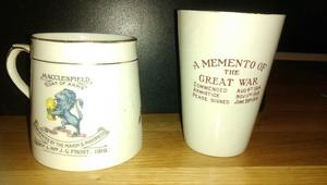 WW1 Commerative Cup + Beaker set- Good Condition
