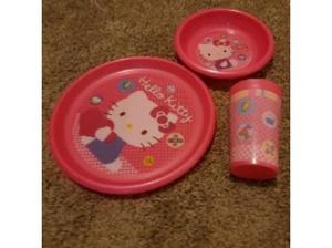 Hello Kitty plate, dish and beaker set in Weston Super Mare