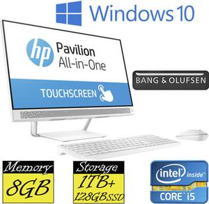 "HP 24-a205na PC 24"" FHD Touchscreen Quad Core iT 8GB"