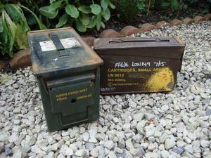 Two,Ex M.O.D,Small Steel Ammunition Boxes.
