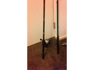 3 fishing rods with reels in Cardiff