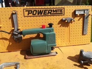Vintage toy workbench. Powermite.