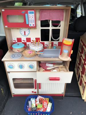 Wooden toy kitchen with Accessories