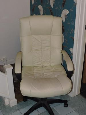 FAUX LEATHER OFFICE CHAIR CREAM USED