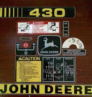 John Deere 430 Lawn and Garden Decal Set
