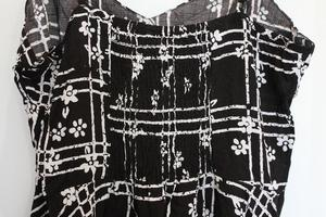 Black and White Floral Check Print Dress Size S