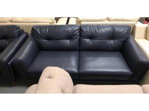 DFS Axel blue leather 3 seater sofa, Armchair and Footstool
