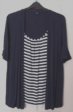 Gorgeous navy striped combination top by George - sz 18 B24