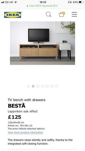 Ikea 'Besta' TV Bench with Draws