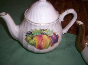 Ceramic White Teapot with a Fruit Design on each side