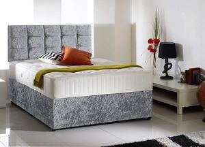 SAMEDAY EXPRESS DELIVERY Crushed Velvet Double Bed MEMORYFOAM Mattress Headboard £175 PayOn Delivery