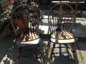 2 X Wheel Back Dining Chairs Dark Wood