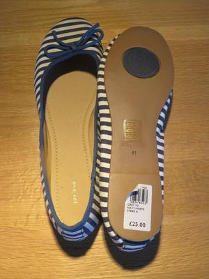 Brand new, Blue and white striped ladies pumps