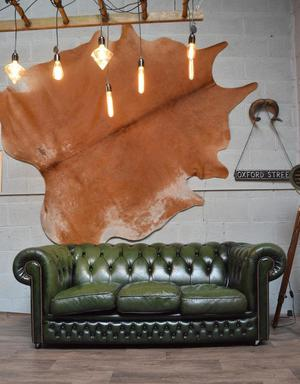 Chesterfield Vintage Leather 3 Seater Sofa Green