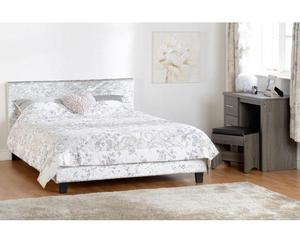 GREY CRUSHED VELVET DOUBLE BED BRAND NEW