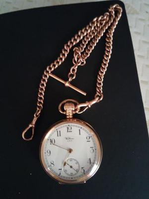 Walthams 9ct gold pocket watch and solid 9ct gold chain