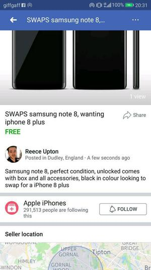 SWAPS samsung note 8 for iphone 8 plus