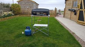 double burner and grill camping stove never used plus stand and gas bottle