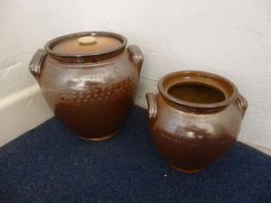 2 Rustic Brown Stoneware Pots