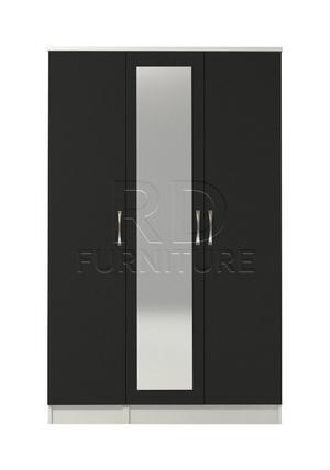 Hampton 3 door mirrored wardrobe white and black