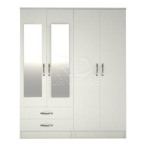 Hampton 4 door 2 drawer mirrored wardrobe white effect