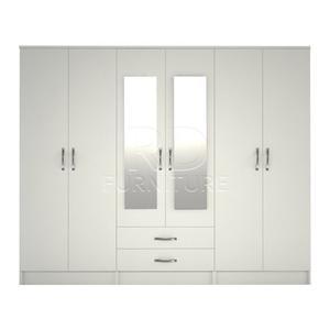 Hampton wardrobe 4 you, 2,28m wide 6 door white wardrobe