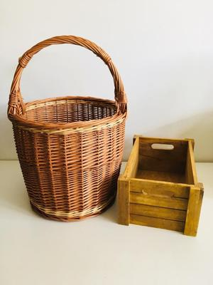 Wicker basket and mini crate