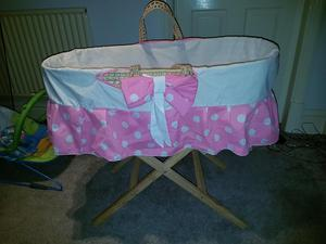 Fisher price bouncer and moses basket