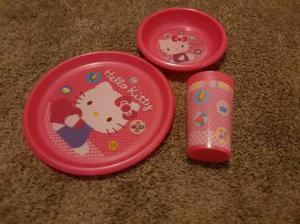 Hello Kitty plate, dish and beaker set