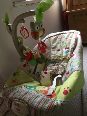 Vibrating baby bouncer with detachable musical hanger