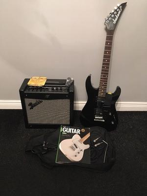 Jackson Electric Guitar, Stagg bag & strap with Fender Amp.
