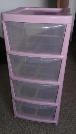 Pink plastic 4 drawer storage unit