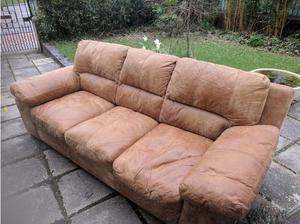 Sofas: large, soft tan leather in Castle Douglas